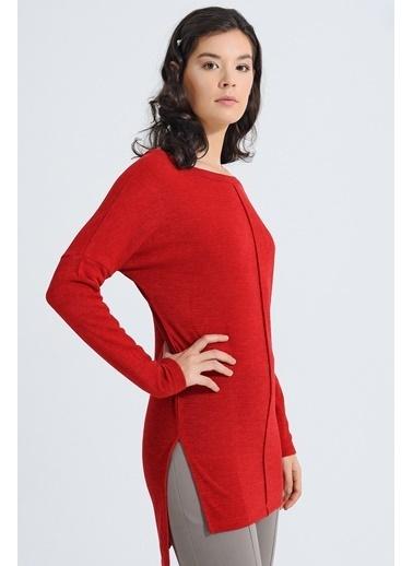 Jument Alba Kayık Yaka Dikişli Yan Yırtmaçlı Tunik Kırmızı